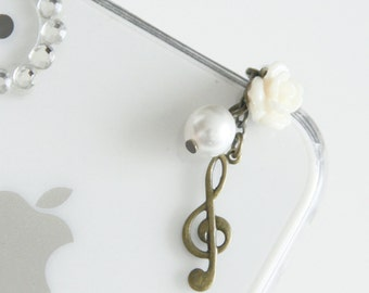 FREE Shipping-Music Note iPhone Earplug Charm. Treble Clef iPhone Plug. iPhone4, iPhone5, iPad, Samsung, iPhone earphone Accessories