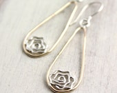 Gold and Silver Rose Teardrop Drop Earrings