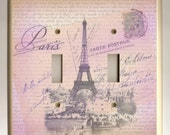Double Toggle Light Switch Plate - Lavender and Pink Paris Eiffel Tower and Love Letters