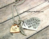Girls necklace-personalized-hand stamped necklace-my daddy flies with angels-girls remembrance necklace