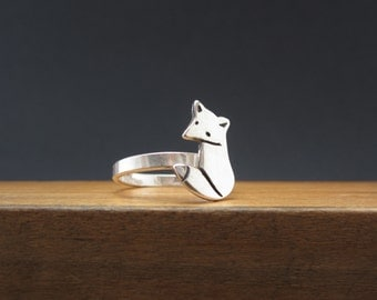 Sterling Silver Fox Ring - Silver Fox Ring Custom Made in Your Size
