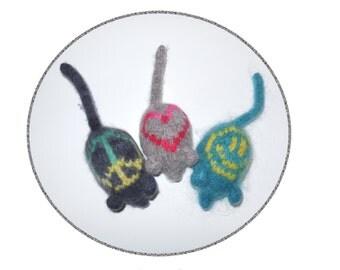 Cat Toy Catnip Mice - Set of Three Hand Knit - Peace, Love & Happiness