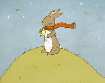 Art Print - Reach For The Stars - Bunny Rabbit, Nursery Art, Children's Illustration