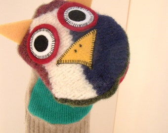 Hand puppet owl  named Irv made of 100% recycled wool