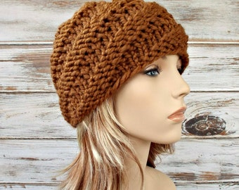 Brown Chunky Knit Hat Womens Hat - Swirl Beanie in Hazelnut Brown Knit Hat - Brown Hat Brown Beanie Womens Accessories Winter Hat