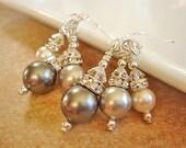Bridesmaid Earrings Wedding Jewelry Grey Pearl White Pearl Earrings Sterling Silver Dangle Earrings Bridesmaid Jewelry Rhinestone Earrings