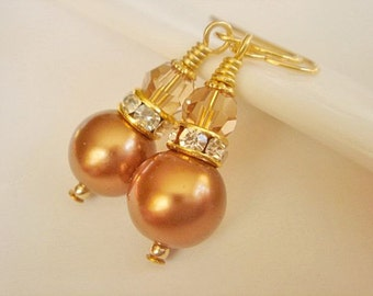Bronze Pearl Bridesmaid Earrings Dangle Earrings Bridesmaid Jewelry Swarovski Elements Gold Pearl Earrings