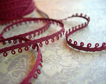 "Vintage Picot Trim 1/4"" BURGUNDY WINE Red Eyelet Narrow Loops NEW 6 yards fresh clean spool"