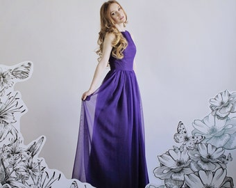 "Chiffon Bridesmaid Purple Dress ""Agatha Dress"" with Gathered Skirt and Princess Seams Size 0 Ready to Ship Boat Neck Tank Formal Gown"