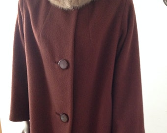 Silver Mink Collared Brown Wool Overcoat