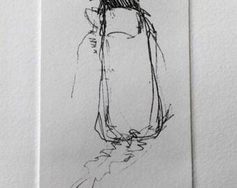 Border Collie Sketch Greeting Card - Original etching by Nicole Strasburg