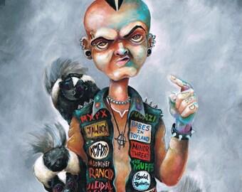 Skunk Punk rock open edition print by Bryan Collins