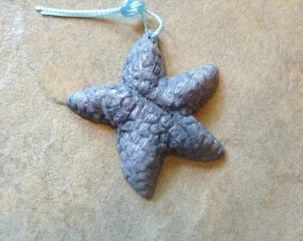 FantasticBlue Coral Carved Starfish Pendant -  39x42mm