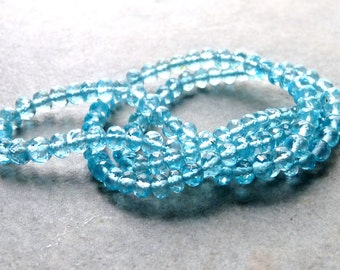 AAA Blue Apatite Faceted Rondelles - 4mm - Packet of 8 Beads