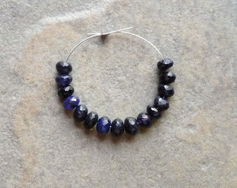 AAA Dyed Blue Sapphire Faceted Rondelles - 4mm - 15 beads