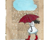 My red umbrella -  A4 size print - Girl walking in the rain with her red umbrella - Mixed media drawing on book page