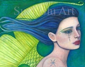 Suzi Blu Pisces Astrology Print of Sun Sign Zodiac Girl