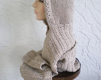 hand knit hood scarf hat crochet scarf womens accessories hood hat scoodie winter hat  ~ hood basic ~ - natural beige - MADE TO ORDER