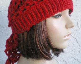 hand crochet bandana kerchief women men bandana womens accessories dreadlock snood hair net hat ~ gypsy spirit rib mesh ~ red made to order