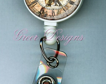 Steampunk Eiffel Tower Clock Map Vintage Style Gift Retractable ID Badge Holder Reel Clip