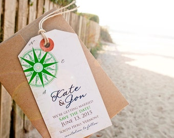 Save the Date - Vintage Compass Rose Luggage Tag Magnet for the Destination Wedding  - Design Fee