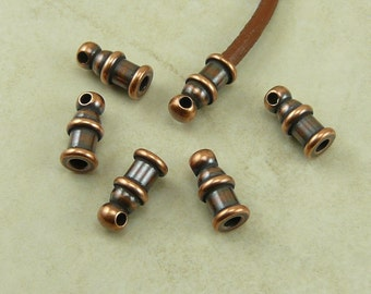 6 TierraCast 2mm Pagoda Leather Cord Ends - Copper Finish Plated Lead Free Brass - I ship Internationally 0200