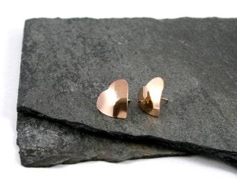 14K Yellow Gold Fill Heart Stud Earrings