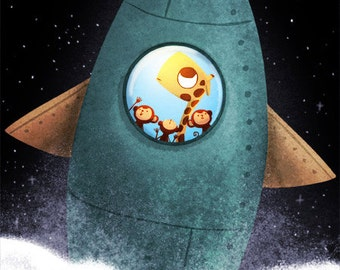 """Card for boys, space art, blank greeting card - """"Final frontier"""""""