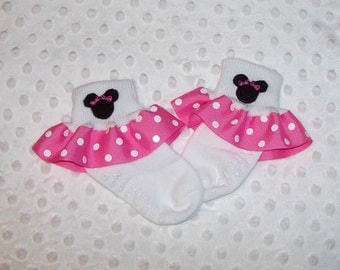 Miss Mouse with Little Bows Applique Hot Pink Polka Dot Ruffle Ribbon Socks