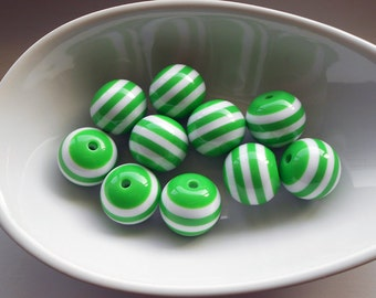 4 Green White Stripe Acrylic Beads 20MM resin beads (H9021)
