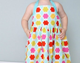 Girls Halter Dress Pattern PDF Sewing Pattern sizes 2 to 8