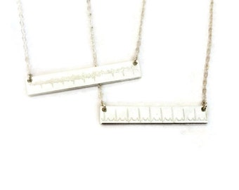 Custom heartbeat, sonogram, voice memo, handwriting necklace in sterling silver or 14k gold filled, perfect gift for her!