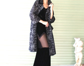 NEW Lilli Ann 1950's or 1960's Brocade Coat Huge Rhinestone Buttons