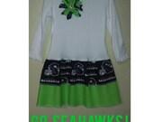 Seattle Seahawks Double Ruffle Long Sleeve Dress **SHIPS NEXT DAY** 2t 3t 4t 5 6 Matching Pants {{12th Man}}