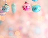 Pastel Ornament Wonderland Bokeh Christmas Photography 8x10 shabby cottage holiday home decor wall art photography print