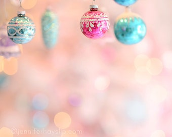 Pastel Ornament Wonderland Bokeh Christmas Photography shabby cottage holiday home decor wall art photography print