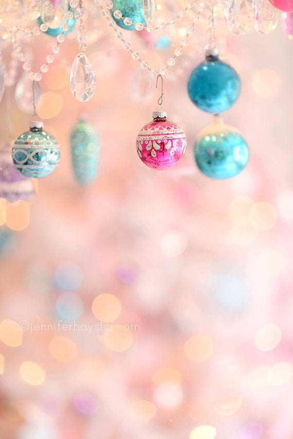 Items Similar To Pastel Ornament Wonderland Bokeh Christmas Photography Shabby Cottage Holiday Home Decor Wall Art Print On Etsy