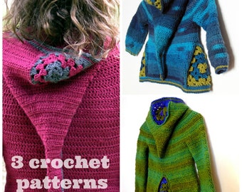 3 crochet patterns PDF - Armel, Ermeline and Jeahnne hooded cardigans for kids aged 2 to 8 and Women sizes XS to XL - Instant download