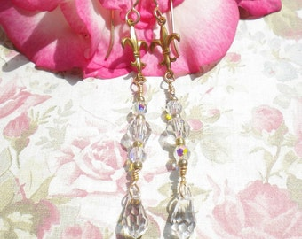 Swarovski Crystal Earrings Wedding Art Deco Clear Crystals w Swarovski Briolette Drop