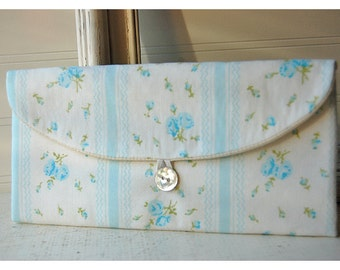 Bridesmaids Clutch purse vintage blue ticking roses Bridal Wedding Shabby  chicbag Gift Giving Make Up Travel Gadget ,Gift Under 25