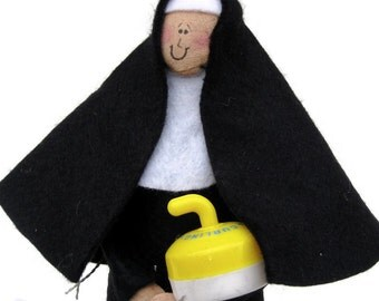 Novelty nun doll, woman with curling rock, bonspiel award, gift for curler, fun Catholic gift, Funny religious figure, Sister Bonnie Speil