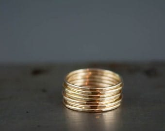 Thin 14k Gold Ring, Delicate Gold Ring, Gold Stacking Ring Set of 6, Simple 14k Gold Filled Hammered Rings