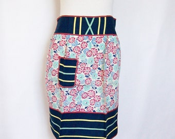 Half Apron Cotton Vintage Handmade Flour Sack Fabric Cottage Kitchen