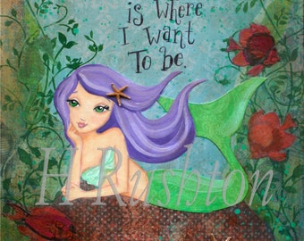 Mermaid Art- Children's Art- Mermaid Decor- Mixed Media Art- Giclee Print Sizes 5x7 or 8x10 by HRushton