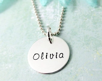 Mommy Necklace - Personalized Necklace - Sterling Silver Name Charm Jewelry - Children's Name Necklace - Mother's Day Gift - Mom Necklace