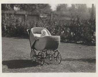 vintage photo 1921 Baby in Buggy Sunshine on the LAwn