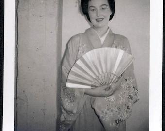 vintage photo instant film Woman as Japanese Geisha w Fan 1960