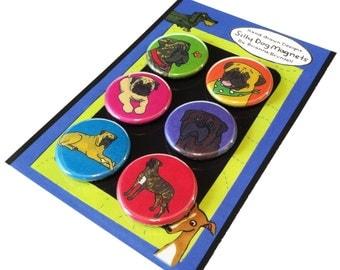 Bullmastiff Silly Dog Magnet Set