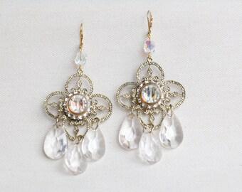 Vintage Upcycled Earrings / Antique Brass Filigree Rhinestone / Chandelier Earrings