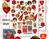 Valentine's Day Chenille Ornaments digital collage sheet  set -- two sheets and a PDF tutorial